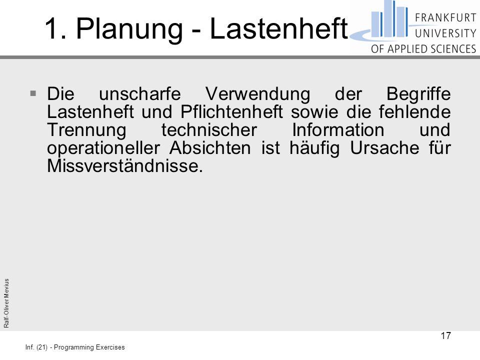 Ralf-Oliver Mevius Inf. (21) - Programming Exercises 1. Planung - Lastenheft  Die unscharfe Verwendung der Begriffe Lastenheft und Pflichtenheft sowi