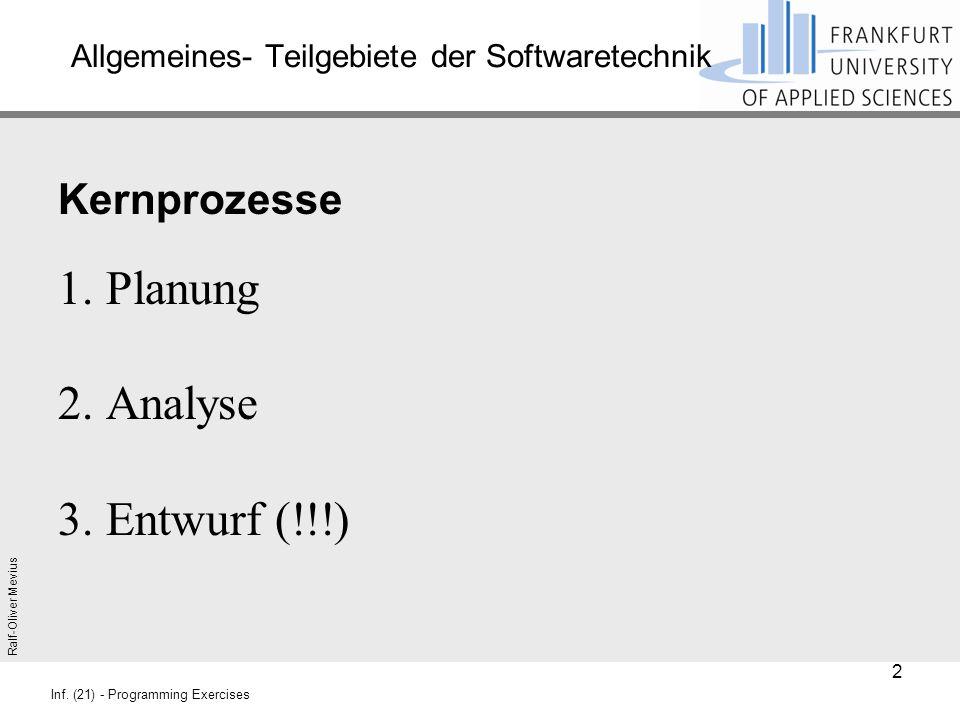 Ralf-Oliver Mevius Inf. (21) - Programming Exercises Allgemeines- Teilgebiete der Softwaretechnik Kernprozesse 1. Planung 2. Analyse 3. Entwurf (!!!)