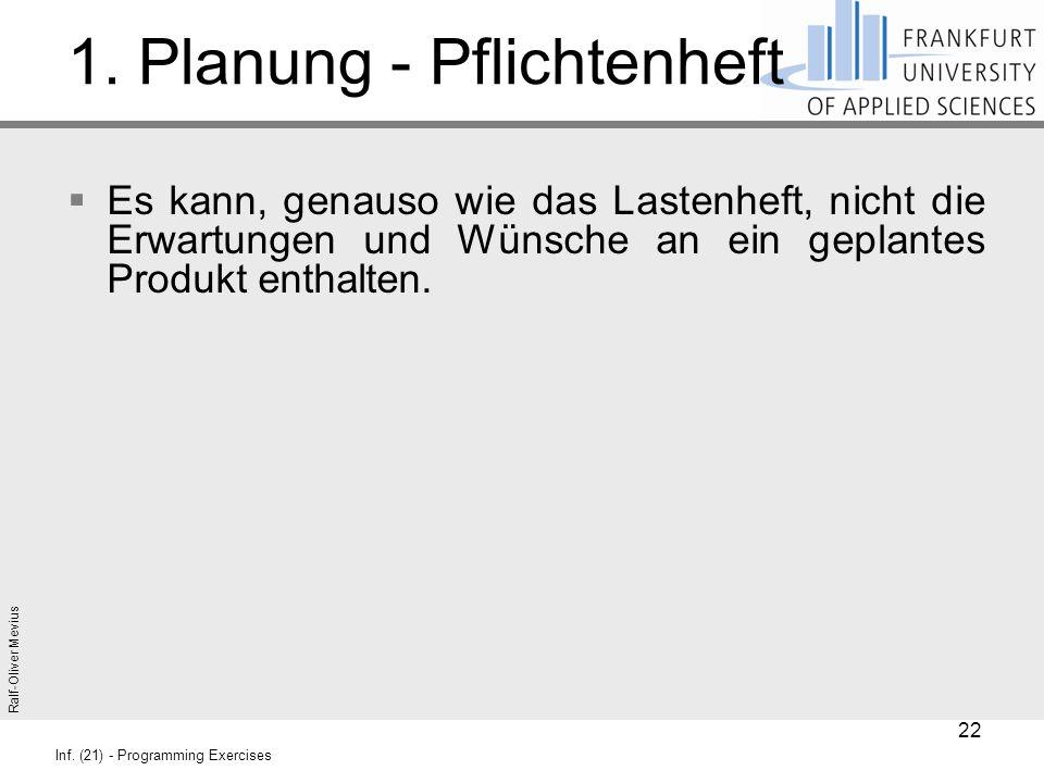 Ralf-Oliver Mevius Inf. (21) - Programming Exercises 1. Planung - Pflichtenheft  Es kann, genauso wie das Lastenheft, nicht die Erwartungen und Wünsc
