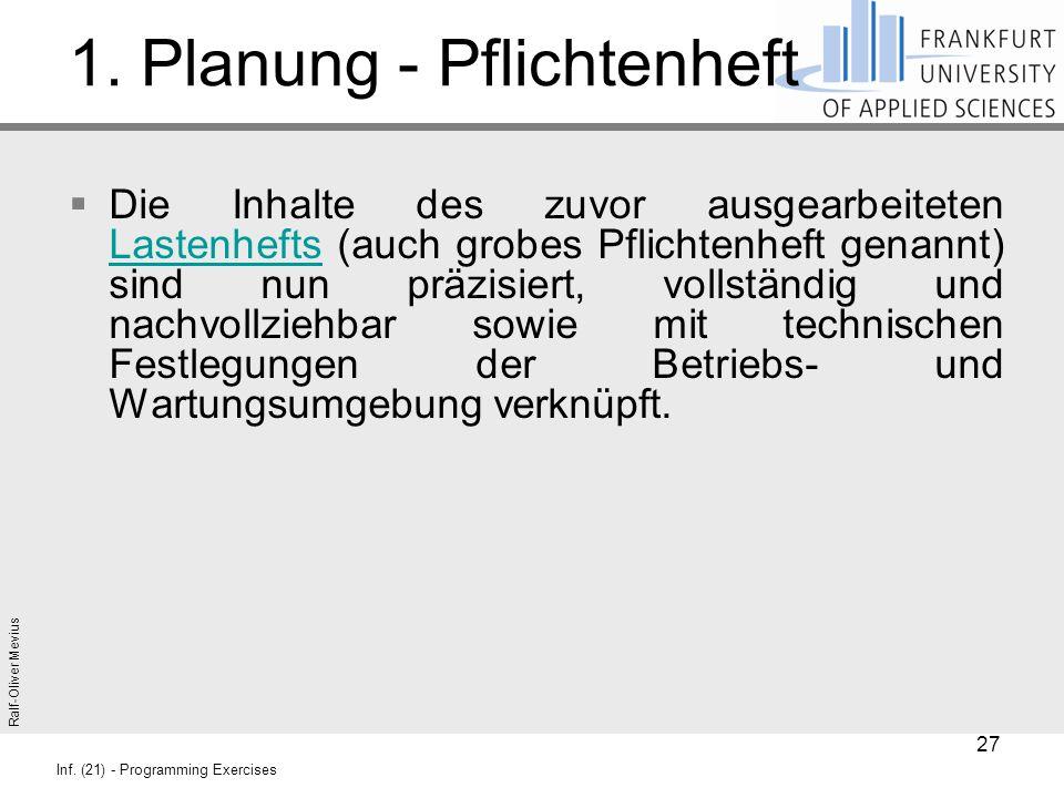 Ralf-Oliver Mevius Inf. (21) - Programming Exercises 1. Planung - Pflichtenheft  Die Inhalte des zuvor ausgearbeiteten Lastenhefts (auch grobes Pflic