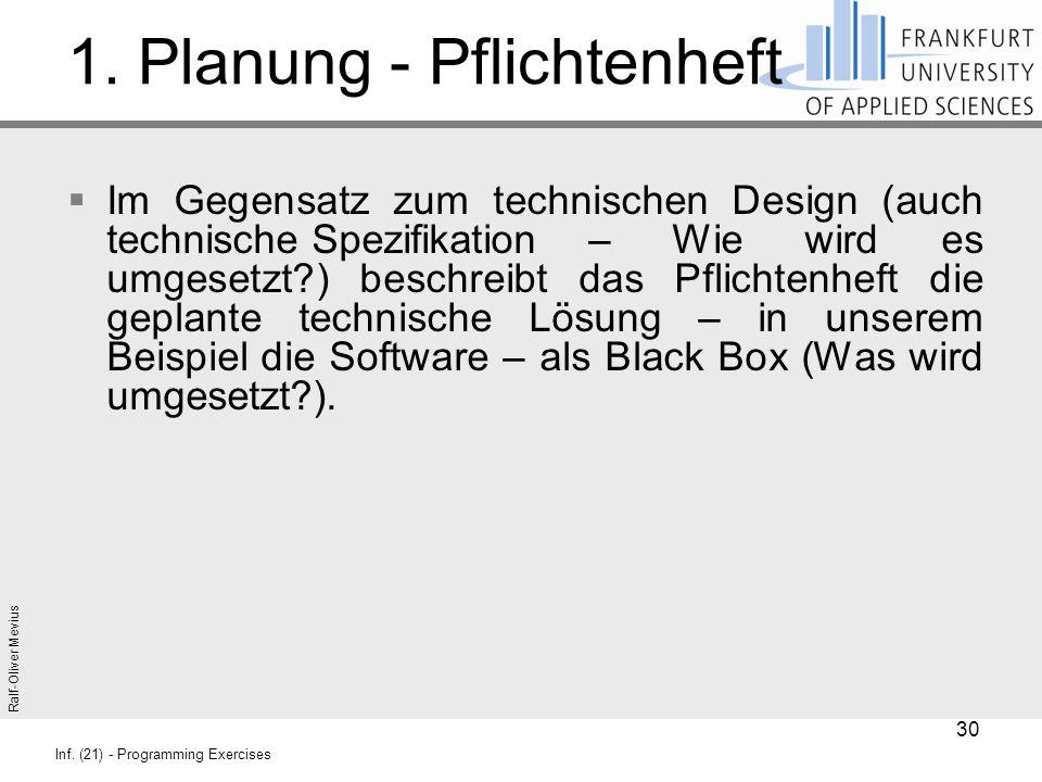 Ralf-Oliver Mevius Inf. (21) - Programming Exercises 1. Planung - Pflichtenheft  Im Gegensatz zum technischen Design (auch technische Spezifikation –