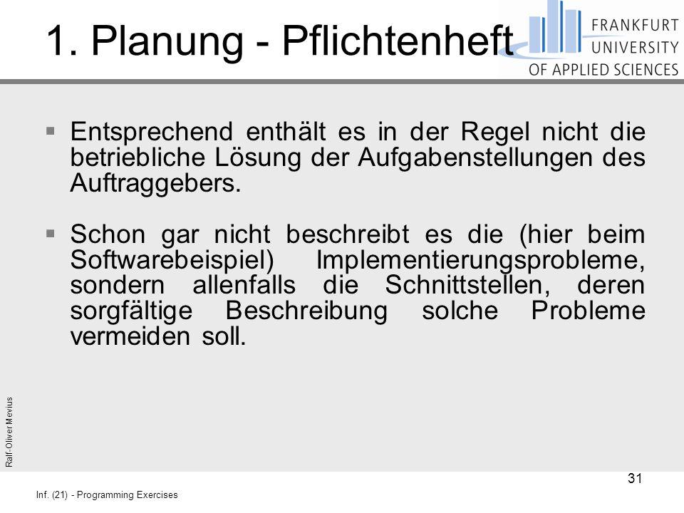 Ralf-Oliver Mevius Inf. (21) - Programming Exercises 1. Planung - Pflichtenheft  Entsprechend enthält es in der Regel nicht die betriebliche Lösung d