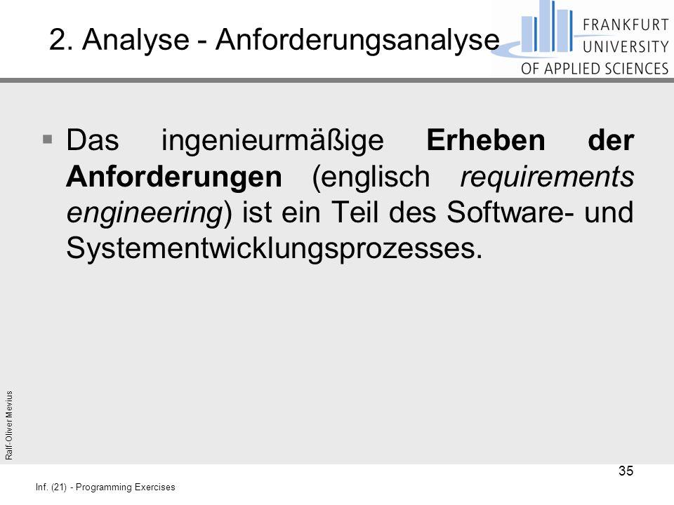 Ralf-Oliver Mevius Inf. (21) - Programming Exercises 2. Analyse - Anforderungsanalyse  Das ingenieurmäßige Erheben der Anforderungen (englisch requir