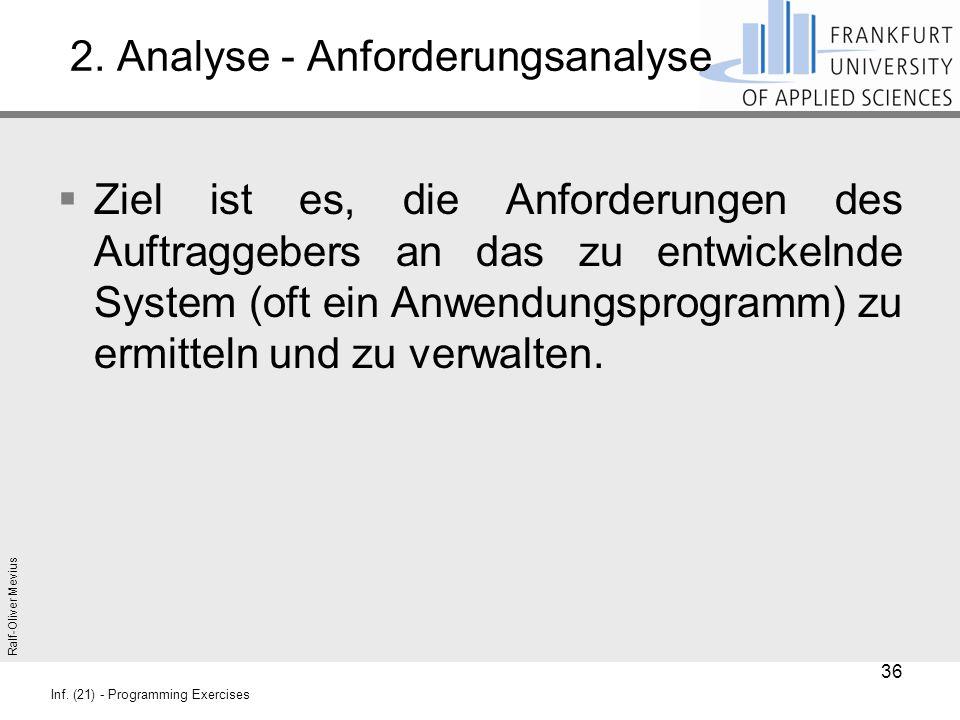 Ralf-Oliver Mevius Inf. (21) - Programming Exercises 2. Analyse - Anforderungsanalyse  Ziel ist es, die Anforderungen des Auftraggebers an das zu ent