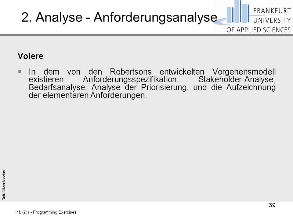 Ralf-Oliver Mevius Inf. (21) - Programming Exercises 2. Analyse - Anforderungsanalyse Volere  In dem von den Robertsons entwickelten Vorgehensmodell