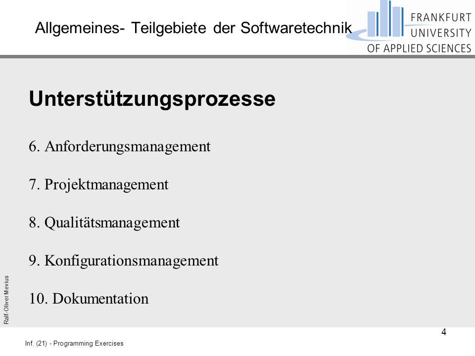 Ralf-Oliver Mevius Inf. (21) - Programming Exercises Allgemeines- Teilgebiete der Softwaretechnik Unterstützungsprozesse 6. Anforderungsmanagement 7.