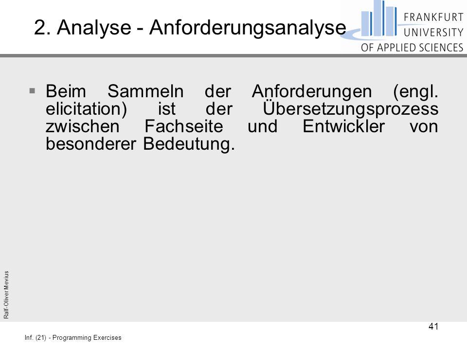 Ralf-Oliver Mevius Inf. (21) - Programming Exercises 2. Analyse - Anforderungsanalyse  Beim Sammeln der Anforderungen (engl. elicitation) ist der Übe