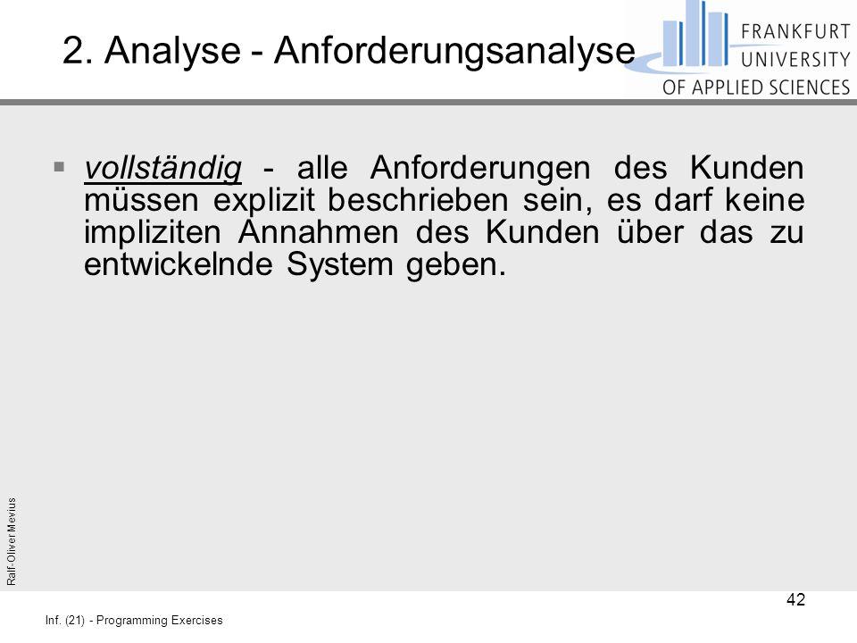 Ralf-Oliver Mevius Inf. (21) - Programming Exercises 2. Analyse - Anforderungsanalyse  vollständig - alle Anforderungen des Kunden müssen explizit be