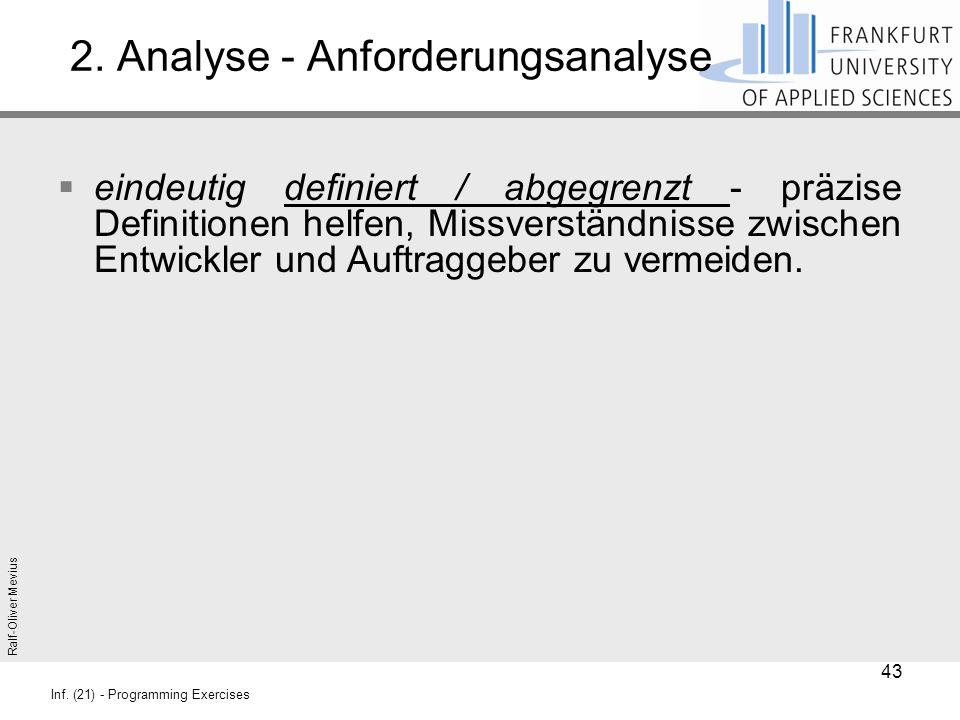 Ralf-Oliver Mevius Inf. (21) - Programming Exercises 2. Analyse - Anforderungsanalyse  eindeutig definiert / abgegrenzt - präzise Definitionen helfen