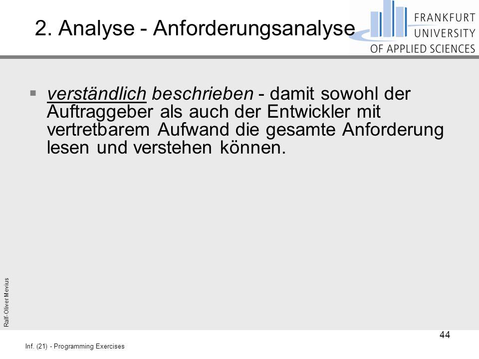 Ralf-Oliver Mevius Inf. (21) - Programming Exercises 2. Analyse - Anforderungsanalyse  verständlich beschrieben - damit sowohl der Auftraggeber als a