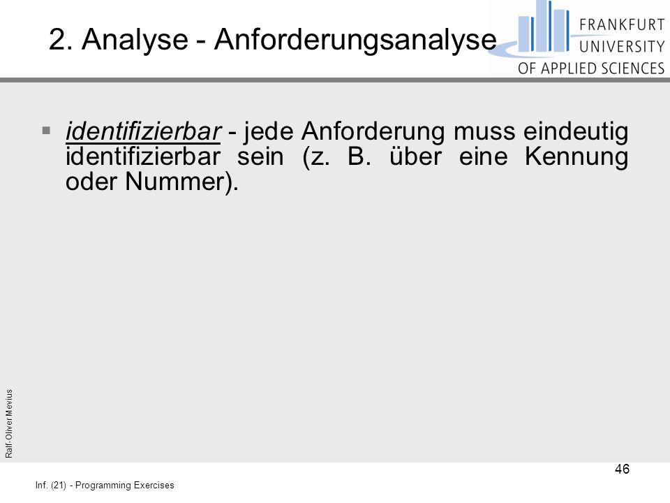 Ralf-Oliver Mevius Inf. (21) - Programming Exercises 2. Analyse - Anforderungsanalyse  identifizierbar - jede Anforderung muss eindeutig identifizier