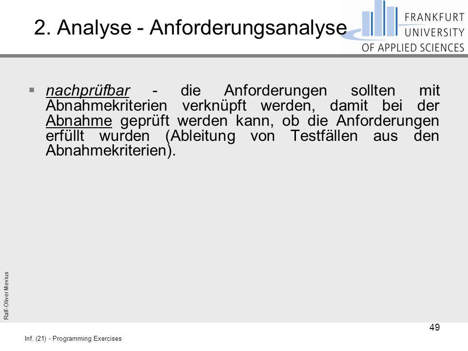 Ralf-Oliver Mevius Inf. (21) - Programming Exercises 2. Analyse - Anforderungsanalyse  nachprüfbar - die Anforderungen sollten mit Abnahmekriterien v