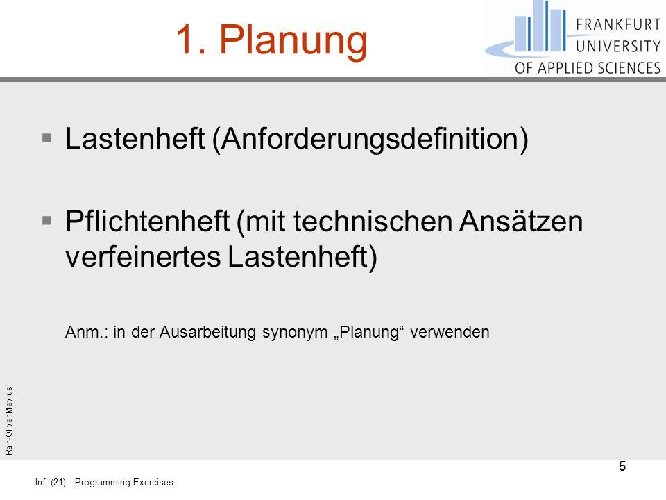 Ralf-Oliver Mevius Inf. (21) - Programming Exercises 1. Planung  Lastenheft (Anforderungsdefinition)  Pflichtenheft (mit technischen Ansätzen verfei