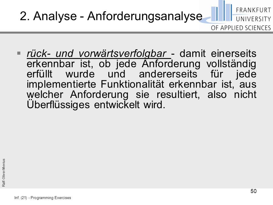 Ralf-Oliver Mevius Inf. (21) - Programming Exercises 2. Analyse - Anforderungsanalyse  rück- und vorwärtsverfolgbar - damit einerseits erkennbar ist,