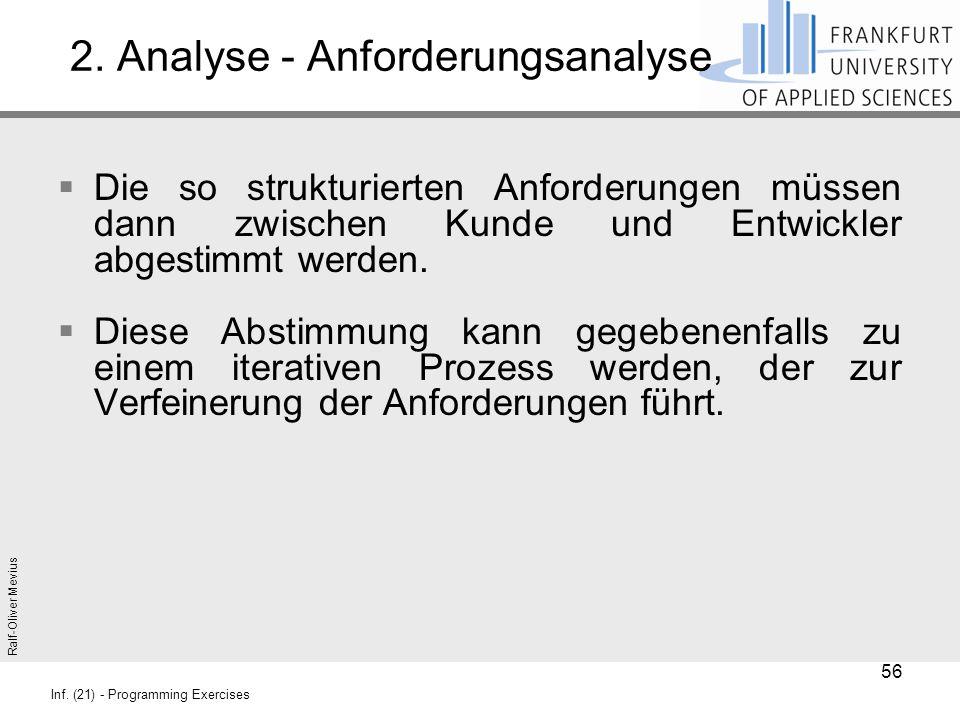 Ralf-Oliver Mevius Inf. (21) - Programming Exercises 2. Analyse - Anforderungsanalyse  Die so strukturierten Anforderungen müssen dann zwischen Kunde