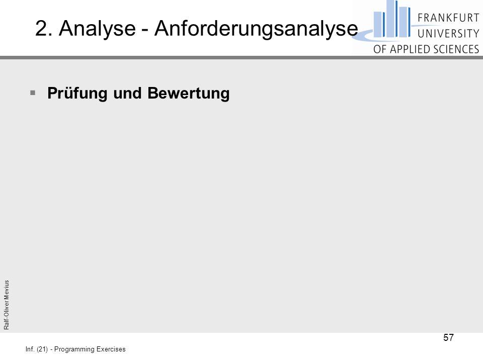 Ralf-Oliver Mevius Inf. (21) - Programming Exercises 2. Analyse - Anforderungsanalyse  Prüfung und Bewertung 57