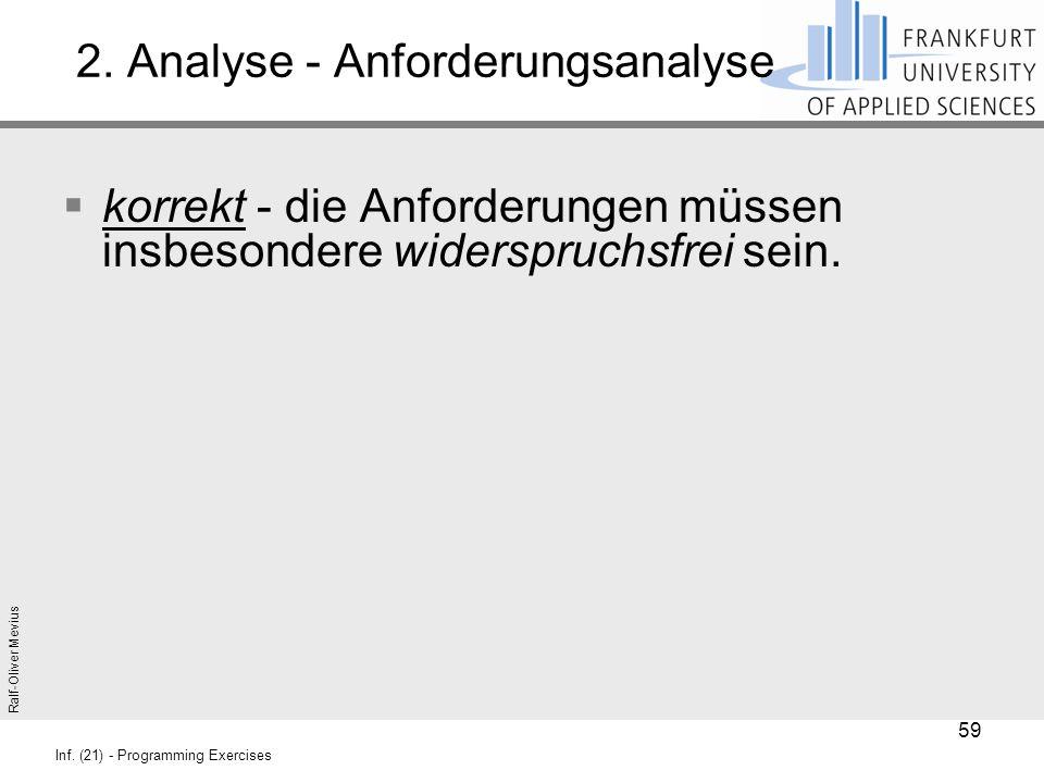 Ralf-Oliver Mevius Inf. (21) - Programming Exercises 2. Analyse - Anforderungsanalyse  korrekt - die Anforderungen müssen insbesondere widerspruchsfr