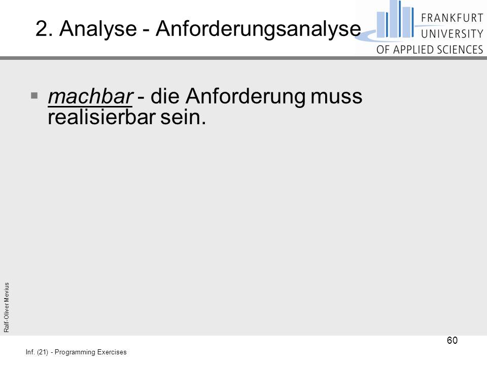 Ralf-Oliver Mevius Inf. (21) - Programming Exercises 2. Analyse - Anforderungsanalyse  machbar - die Anforderung muss realisierbar sein. 60