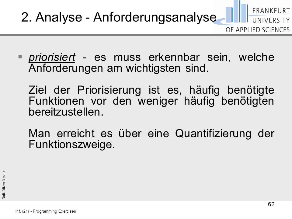Ralf-Oliver Mevius Inf. (21) - Programming Exercises 2. Analyse - Anforderungsanalyse  priorisiert - es muss erkennbar sein, welche Anforderungen am