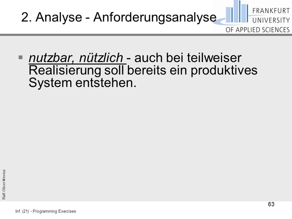 Ralf-Oliver Mevius Inf. (21) - Programming Exercises 2. Analyse - Anforderungsanalyse  nutzbar, nützlich - auch bei teilweiser Realisierung soll bere