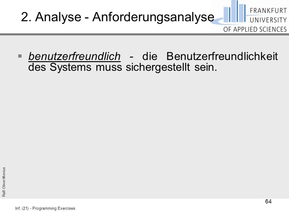 Ralf-Oliver Mevius Inf. (21) - Programming Exercises 2. Analyse - Anforderungsanalyse  benutzerfreundlich - die Benutzerfreundlichkeit des Systems mu