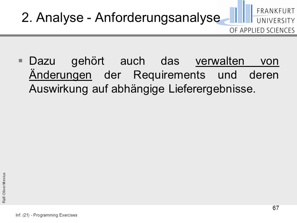 Ralf-Oliver Mevius Inf. (21) - Programming Exercises 2. Analyse - Anforderungsanalyse  Dazu gehört auch das verwalten von Änderungen der Requirements