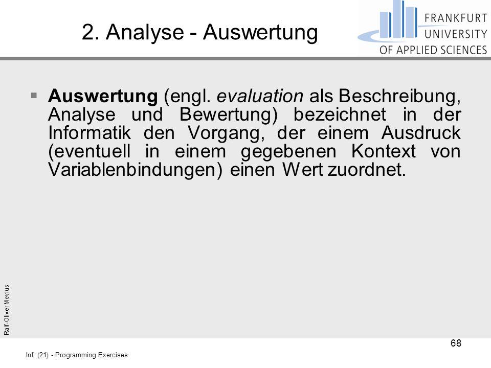 Ralf-Oliver Mevius Inf. (21) - Programming Exercises 2. Analyse - Auswertung  Auswertung (engl. evaluation als Beschreibung, Analyse und Bewertung) b