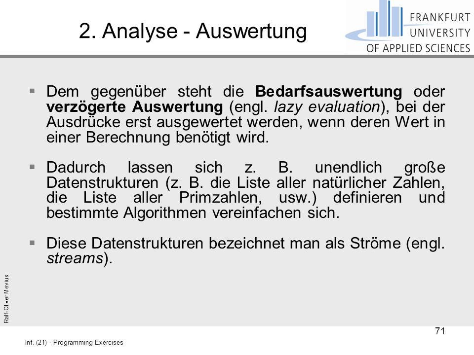 Ralf-Oliver Mevius Inf. (21) - Programming Exercises 2. Analyse - Auswertung  Dem gegenüber steht die Bedarfsauswertung oder verzögerte Auswertung (e