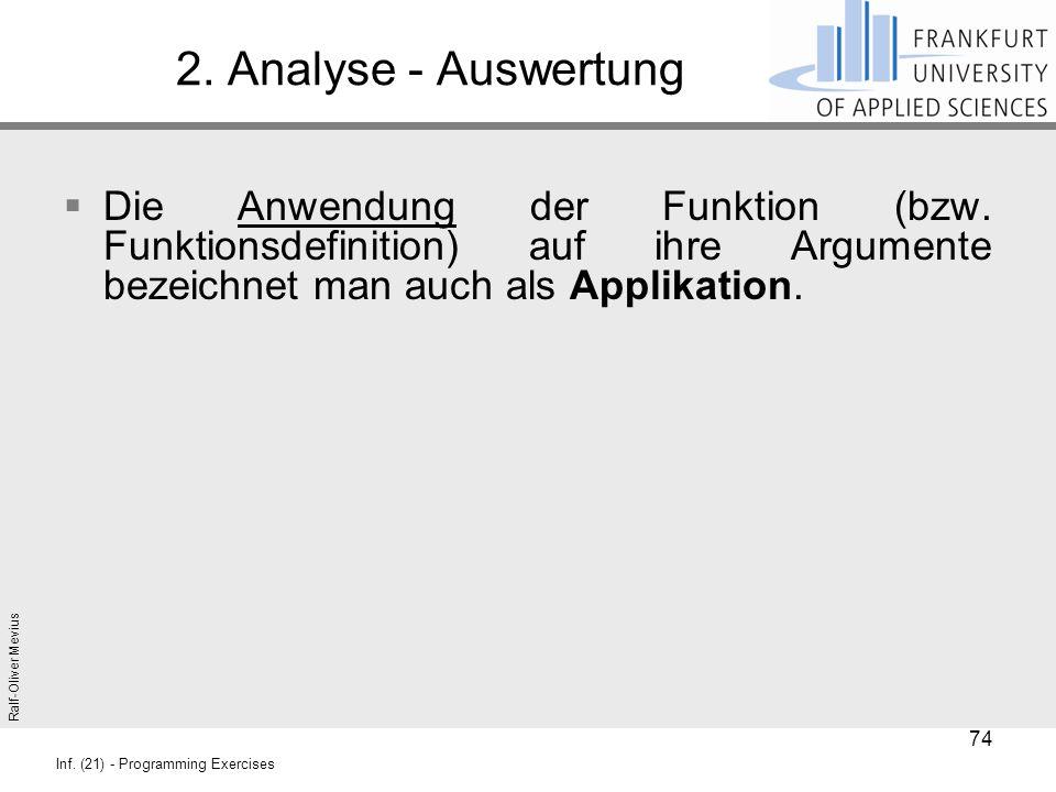Ralf-Oliver Mevius Inf. (21) - Programming Exercises 2. Analyse - Auswertung  Die Anwendung der Funktion (bzw. Funktionsdefinition) auf ihre Argument