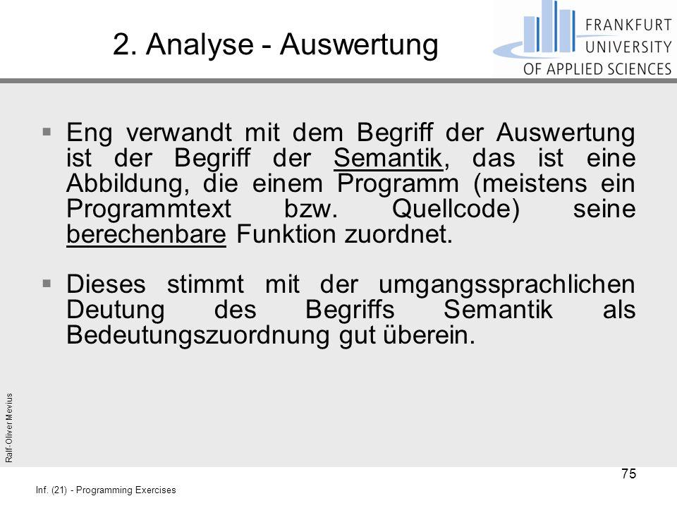 Ralf-Oliver Mevius Inf. (21) - Programming Exercises 2. Analyse - Auswertung  Eng verwandt mit dem Begriff der Auswertung ist der Begriff der Semanti