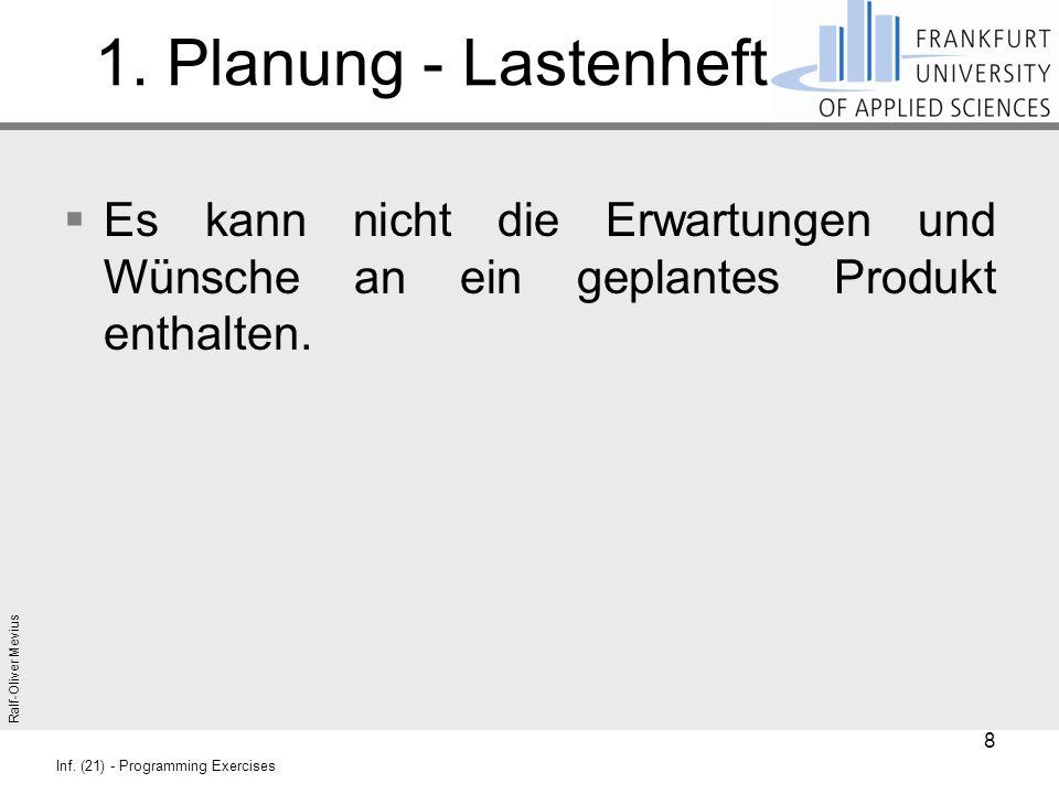 Ralf-Oliver Mevius Inf. (21) - Programming Exercises 1. Planung - Lastenheft  Es kann nicht die Erwartungen und Wünsche an ein geplantes Produkt enth