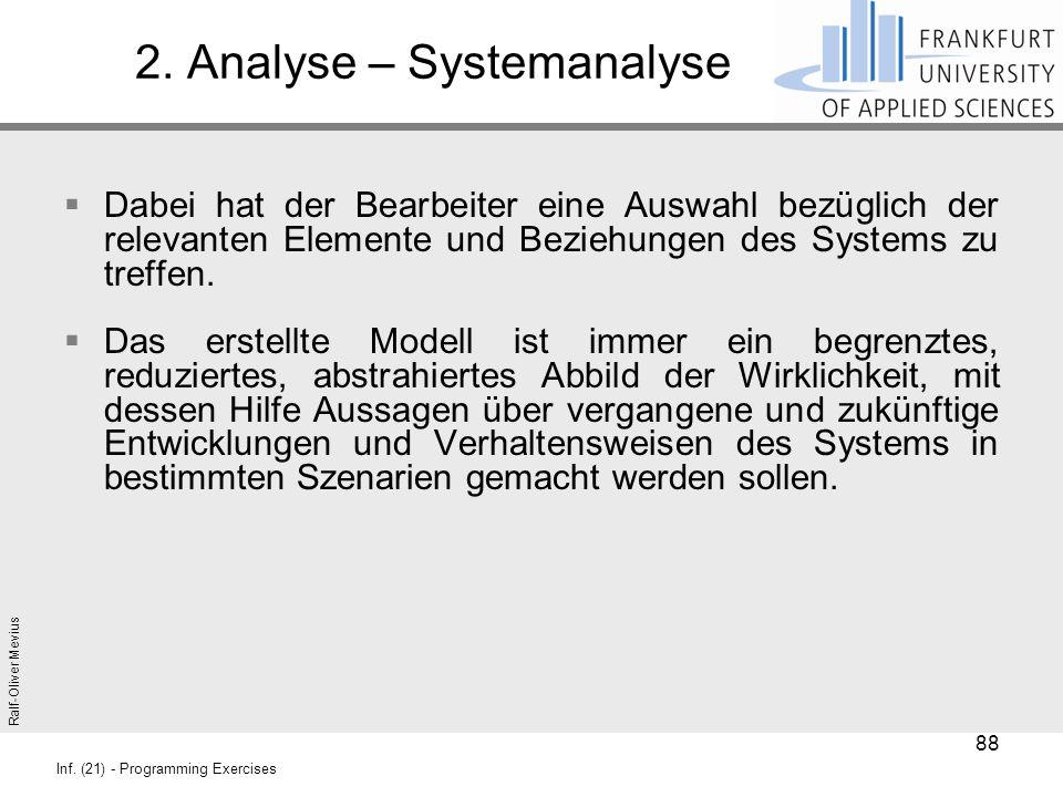 Ralf-Oliver Mevius Inf. (21) - Programming Exercises 2. Analyse – Systemanalyse  Dabei hat der Bearbeiter eine Auswahl bezüglich der relevanten Eleme