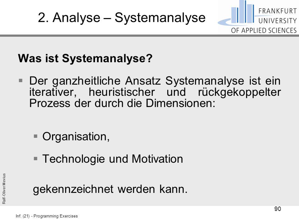 Ralf-Oliver Mevius Inf. (21) - Programming Exercises 2. Analyse – Systemanalyse Was ist Systemanalyse?  Der ganzheitliche Ansatz Systemanalyse ist ei