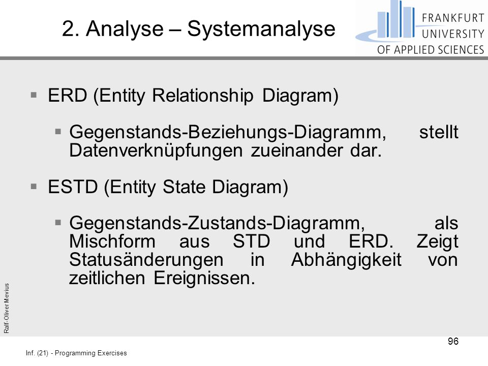 Ralf-Oliver Mevius Inf. (21) - Programming Exercises 2. Analyse – Systemanalyse  ERD (Entity Relationship Diagram)  Gegenstands-Beziehungs-Diagramm,