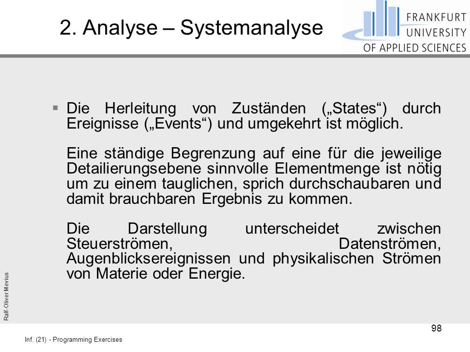 """Ralf-Oliver Mevius Inf. (21) - Programming Exercises 2. Analyse – Systemanalyse  Die Herleitung von Zuständen (""""States"""") durch Ereignisse (""""Events"""")"""