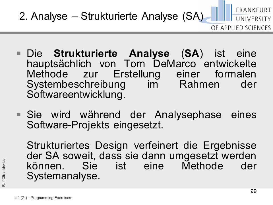 Ralf-Oliver Mevius Inf. (21) - Programming Exercises 2. Analyse – Strukturierte Analyse (SA)  Die Strukturierte Analyse (SA) ist eine hauptsächlich v