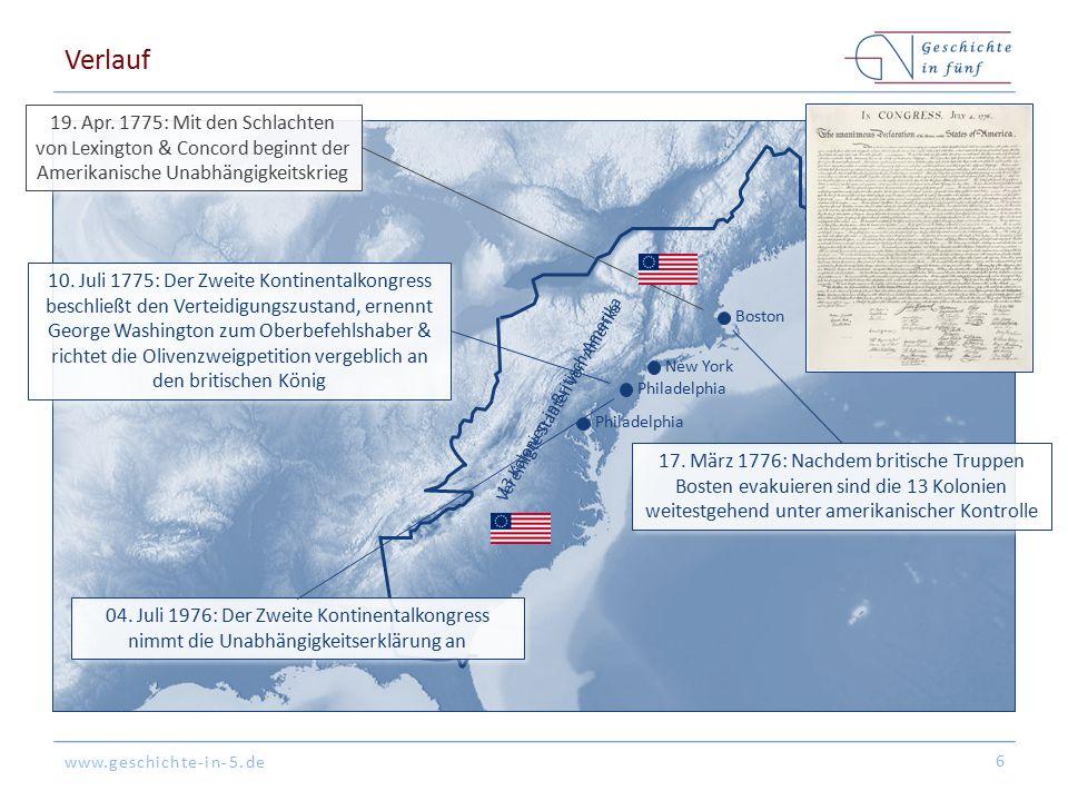 www.geschichte-in-5.de Verlauf 6 New York Boston Philadelphia 13 Kolonien in Britisch-Amerika Vereinigte Staaten von Amerika 19.