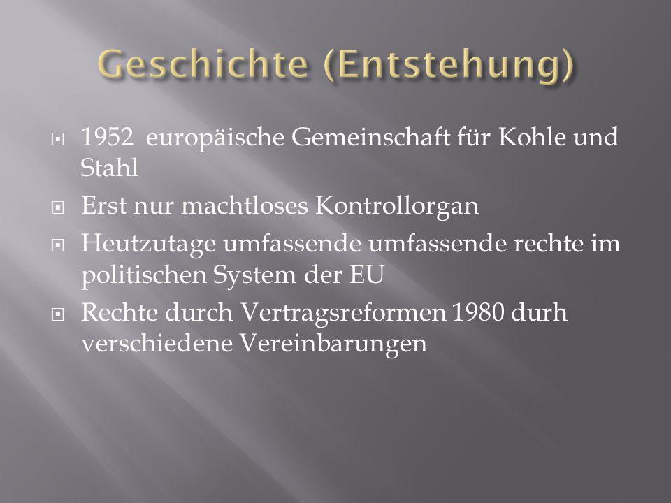  1952 europäische Gemeinschaft für Kohle und Stahl  Erst nur machtloses Kontrollorgan  Heutzutage umfassende umfassende rechte im politischen System der EU  Rechte durch Vertragsreformen 1980 durh verschiedene Vereinbarungen