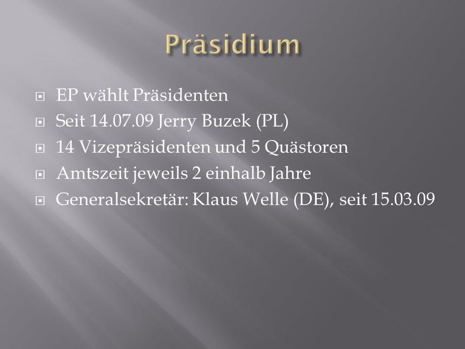  EP wählt Präsidenten  Seit 14.07.09 Jerry Buzek (PL)  14 Vizepräsidenten und 5 Quästoren  Amtszeit jeweils 2 einhalb Jahre  Generalsekretär: Klaus Welle (DE), seit 15.03.09