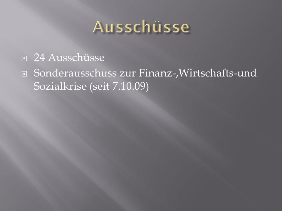  24 Ausschüsse  Sonderausschuss zur Finanz-,Wirtschafts-und Sozialkrise (seit 7.10.09)