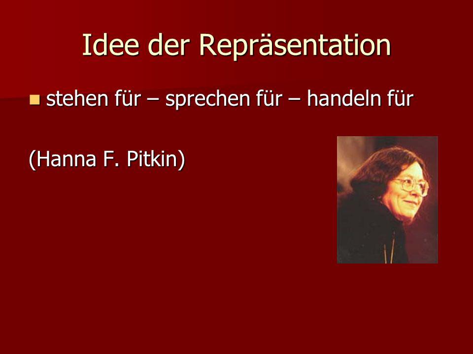 Idee der Repräsentation stehen für – sprechen für – handeln für stehen für – sprechen für – handeln für (Hanna F.