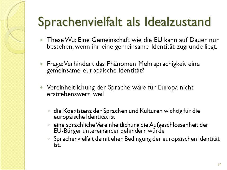 Sprachenvielfalt als Idealzustand These Wu: Eine Gemeinschaft wie die EU kann auf Dauer nur bestehen, wenn ihr eine gemeinsame Identität zugrunde lieg