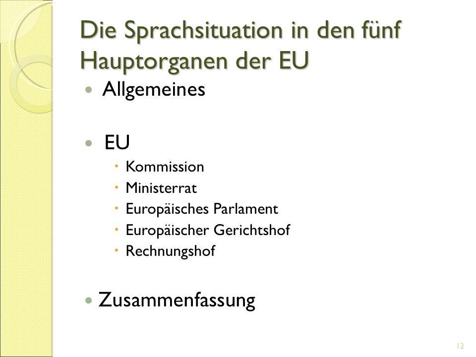 Die Sprachsituation in den fünf Hauptorganen der EU Allgemeines EU  Kommission  Ministerrat  Europäisches Parlament  Europäischer Gerichtshof  Re