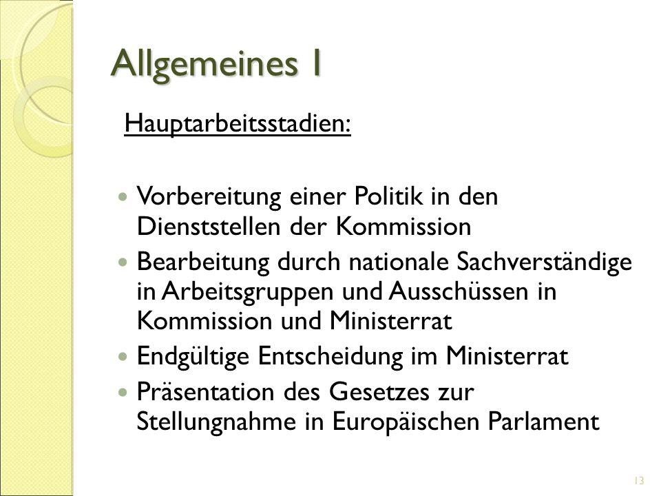 Allgemeines I Hauptarbeitsstadien: Vorbereitung einer Politik in den Dienststellen der Kommission Bearbeitung durch nationale Sachverständige in Arbei