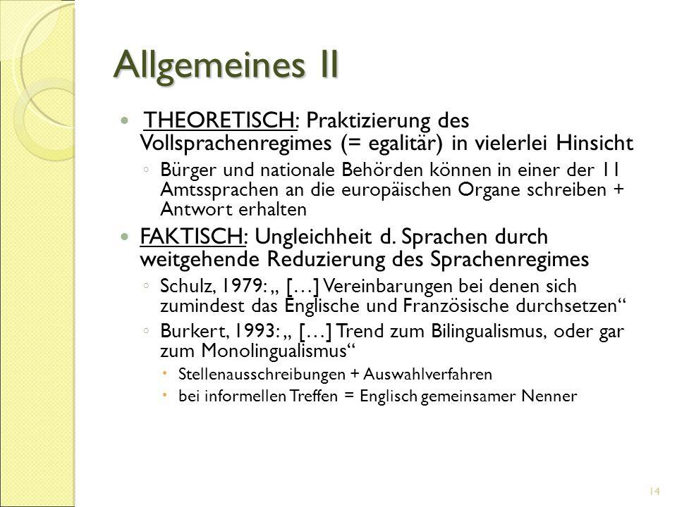 Allgemeines II THEORETISCH: Praktizierung des Vollsprachenregimes (= egalitär) in vielerlei Hinsicht ◦ Bürger und nationale Behörden können in einer d