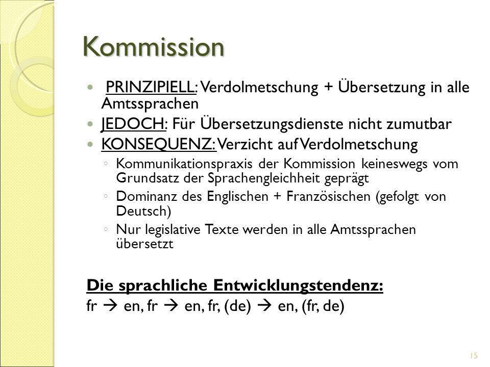Kommission PRINZIPIELL: Verdolmetschung + Übersetzung in alle Amtssprachen JEDOCH: Für Übersetzungsdienste nicht zumutbar KONSEQUENZ: Verzicht auf Ver