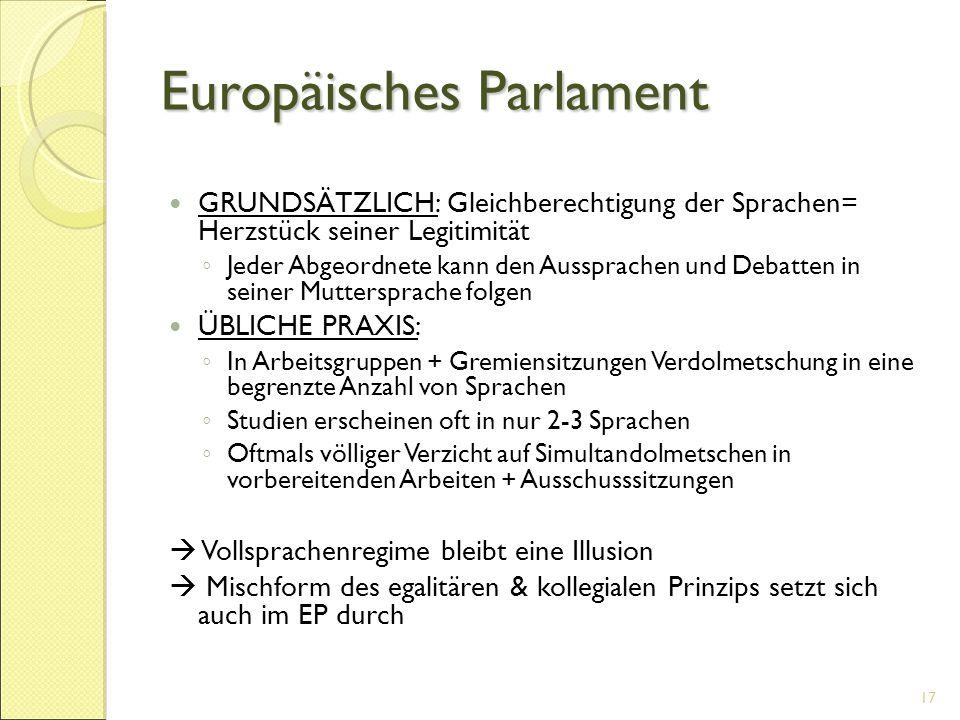 Europäisches Parlament GRUNDSÄTZLICH: Gleichberechtigung der Sprachen= Herzstück seiner Legitimität ◦ Jeder Abgeordnete kann den Aussprachen und Debat