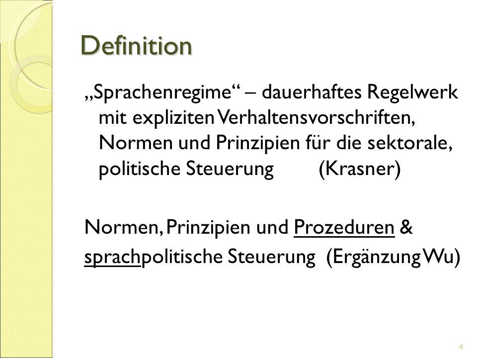"""Definition """"Sprachenregime"""" – dauerhaftes Regelwerk mit expliziten Verhaltensvorschriften, Normen und Prinzipien für die sektorale, politische Steueru"""