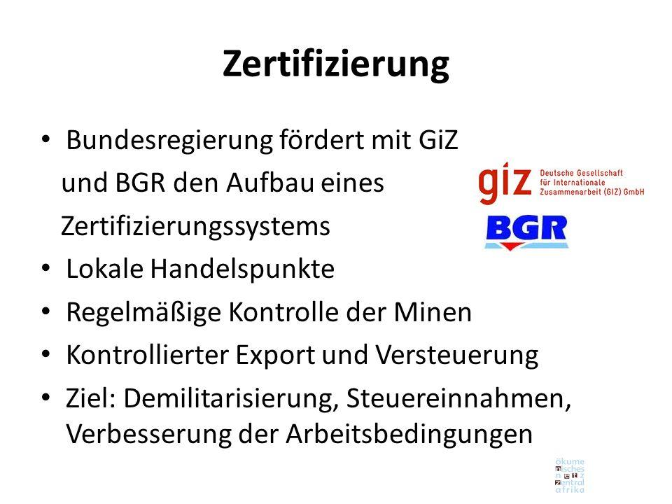 Zertifizierung Bundesregierung fördert mit GiZ und BGR den Aufbau eines Zertifizierungssystems Lokale Handelspunkte Regelmäßige Kontrolle der Minen Kontrollierter Export und Versteuerung Ziel: Demilitarisierung, Steuereinnahmen, Verbesserung der Arbeitsbedingungen