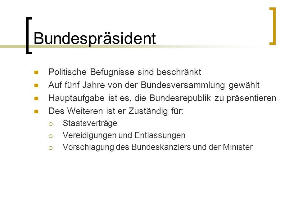 Bundespräsident Politische Befugnisse sind beschränkt Auf fünf Jahre von der Bundesversammlung gewählt Hauptaufgabe ist es, die Bundesrepublik zu präs